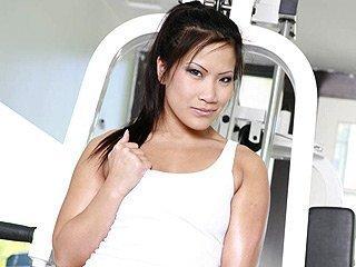 Christina Aguchi Asian babe at gym